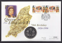 1996 Queen 70th Birthday Cover Isle of Man IOM Stamps and Coin Royalty Royal