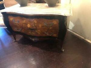 Antique Style Marble Top Chest Commode for  End of Bed