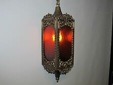 ARCHITECTURAL & GARDEN COLLECTIBLES STAINED GLASS ANTIQUE BRASS LIGHTING AMBER