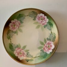Antique Three Crown China German Pink Rose Cabinet Plate