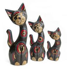 Set 3 gatos con cola de madera artesanía pintados a mano gato color rojo negro