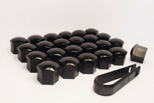 24 x 19mm Alloy Wheel Nut/Bolt Covers/Caps for 6 Stud Cars (Black)