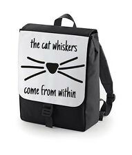 THE CAT WHISKERS COMES FROM WITHIN BACK PACK BAG BAGBASE DAN AND PHIL RUCKSACK