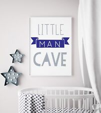 Little Man Cave Banner Navy & Grey Nursery Print Kids Bed Boys Wall Art Picture