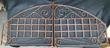 Pair of Architectural Salvage Wrought Iron Window Grates w/ Scrolls & Arched Top
