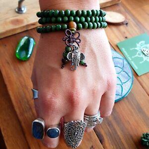 Mala Beads Elephant Buddhist Bracelet Necklace Yoga Green & Silver Bohemian