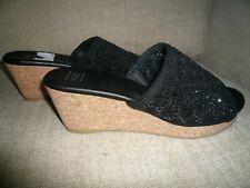 M&S black shoes SIZE 5 (EUR 38) - crystals/ mules/ sandals/cork/wedges fab cond