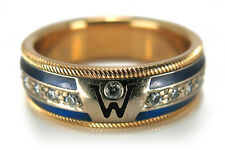 Wellendorff Drehring 750 Gold  Brillanten 0,5 ct. blaue Emaille [BRORS 11785]