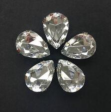 5 x XL Chunky Sew-On Acrylic Pear/Teardrop Facetted Rhinestone 18x25mm Crystal.