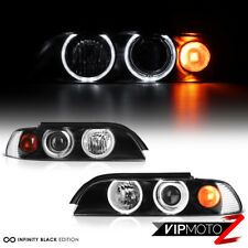 97-03 BMW E39 5 Series Halo Projector Headlights W/Amber Pair Set Infinity Black