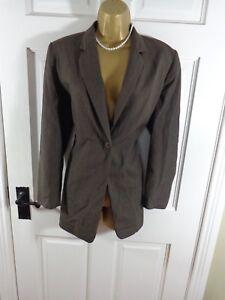 Marks & Spencer Brown Wool Blend Jacket UK 14 Petite, Excellent Condition