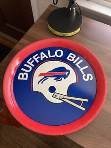 "Vintage NFL Buffalo Bills 14"" Round Metal Blue Red Enameled Serving Tray"