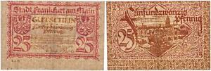 Notgeld 25 Peniques 1919 Stadt Frankfrt Am Main, Errata Algo Usado 43407
