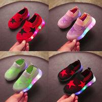 ChildrenBaby Girls Boys Mesh Star Led Luminous Sport Run Sneakers Casual Shoes