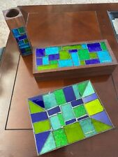 Mid Century Georges Briard Blue & Green Mosaic 3pc set box,tray & Lighter holder