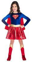 Childs Supergirl Fancy Dress Superhero Costume Kids Girls Book Day Week