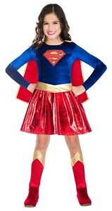 Childs Supergirl Fancy Dress Superhero Costume Kids Girls Book Day Week
