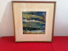 peinture a l huile sur papier de f-marie - decor marine