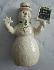 """Lenox Let It Snow Holiday Snowman Figurine 7"""" Retired for Macy's New In Box"""