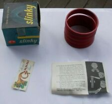 RARE Vintage Original Red Slinky Toy & Original Box Manual Walking Spring James