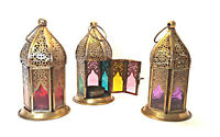 Moroccan Style Hanging Lantern - Bronze Metal Lattice Dome Embossed Glass
