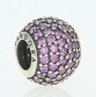 New Authentic Pandora 791051CFP Purple Pave Lights Sterling Silver Bead Charm