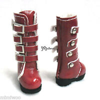 "Mimi Collection 12"" Blythe Pullip Momoko Obitsu 1/6 bjd Shoes Buckle Boots Red"