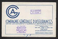 """Agence de MONTLUCON (03) PARIS IX° Arrt / Buvard ASSURANCE """"C.G.A. / M. VALTON"""""""