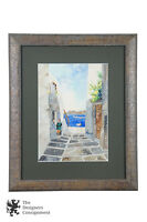Signed Greek Watercolor Painting Cityscape View of Street to Ocean Impressionist