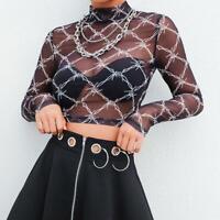 Damen Mode Glänzender Mesh Yarn Round Neck Shirt Blusen Party T-Shirts Tops New