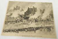 1889 magazine engraving~ RUINS OF GREAT FIRE FEBRUARY 2nd ~ Buffalo NY