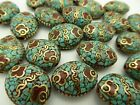 Vintage Nepal Natural Inlaid Turquoise Coral Ornate Brass Oval Pendant One Bead