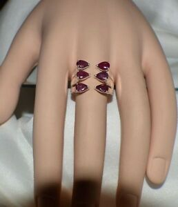 3.00ct. NATURAL GENUINE AFRICAN RED RUBY GYPSY TRIBAL STATEMENT WHITE GOLD FILL