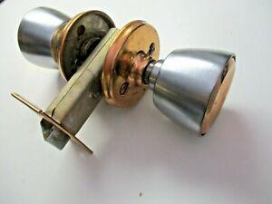 "Weiser USA 1960s Privacy Tulip Knob Set 2-3/8"" Setback Copper Chrome Vintage"
