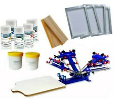 4 Color 1 Station Screen Printing Kit Micro Regist Press Printer With Screen Ink