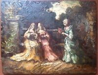 Antique oil painting 19th century French Impressionist Garden MONTICELLI