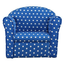 Kids Children's Tub Chair Baby Armchair Sofa Stool Blue with White Spots Fabric