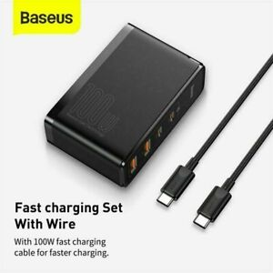 Baseus 100W GaN 4-Port Fast Charging Wall Adapter Type-C USB For Universal
