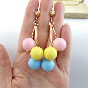 Vintage style Retro1960s unusual pastel ball bead statement dangle clip earrings