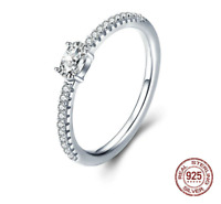 Wedding Ring Sterling Silver 925 Clear Cubic Zirconia Engagement Rings for Women