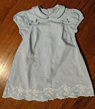 Jacadi Paris Blue w/ White Eyelet Dress Baby Toddler Girl 23 24Months 2T EUC
