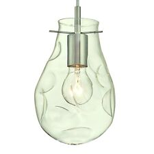1 Light Indoor Pendant Brushed Nickel Finish with Clear Indented Teardrop Glass