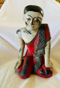 """1960's Thai 13"""" Burmese Carved Painted Statue Seated Disciple Monk FREE SHIPPING"""