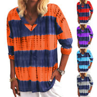 Womens Long Sleeve Tie Dye Striped Tops Loose Blouse V Neck Jumpers T-Shirt