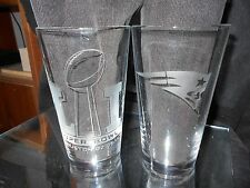 2017 SUPERBOWL 51 CONTENDER NEW ENGLAND PATRIOTS ETCHED LOGO 16 oz PINT GLASSES