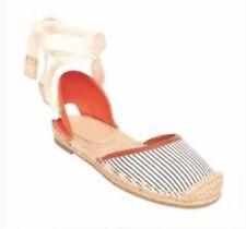 JOIE Miramar Striped Espadrille FLAT Ladies 36 / 6/5.5 Canvas Ankle Tie Shoes