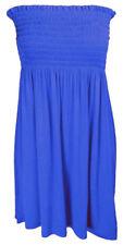 Womens Sheering Boob Tube Gather Bandeau Top Summer Mini Dress Plus Size 8-24 Blue UK 10