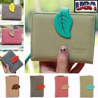US Women Leaf Bifold Wallet Leather Clutch Coin Card Holder Short Purse Handbag