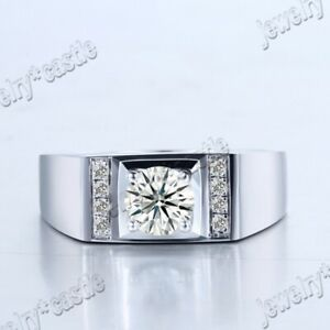 Top Men's 1CT 6.5MM Round AAA Graded Cubic Zirconia Ring Band Sterling Silver 9#