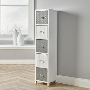 White Wooden Storage Unit 5 Drawer Tall Chest Bedroom Organiser Crystal Handles